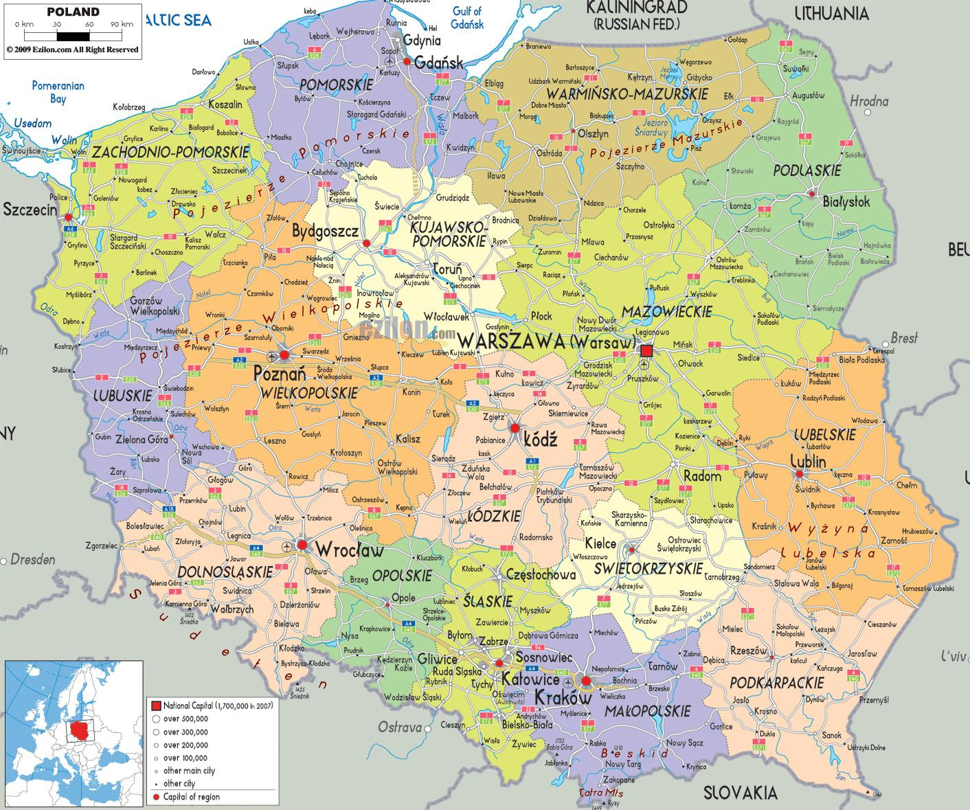 Mapa Polski Z Miastami Mapa Polski Z Miastami Europa Wschodnia