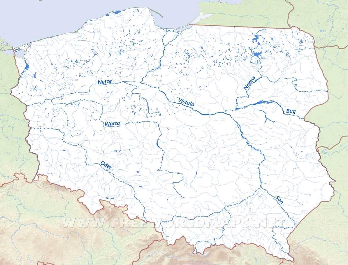 Polska Rzek Mapa Rzek Polska Europa Wschodnia Europa