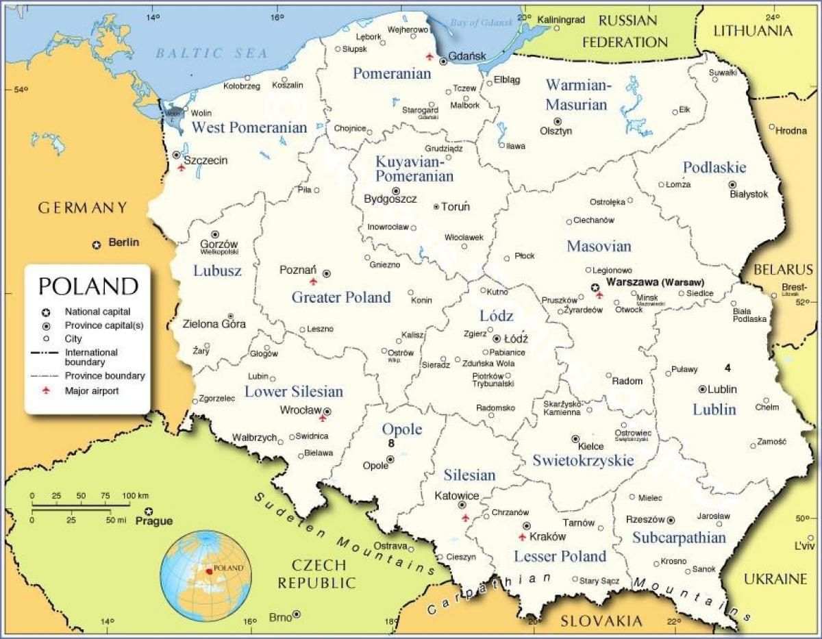 Polska Mapa Regionów Mapa Polski Regiony Europa Wschodnia Europa